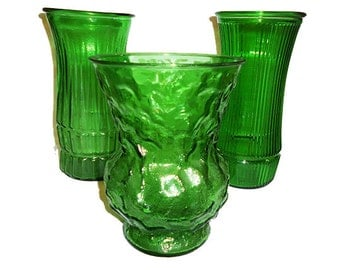 3 Vintage Emerald Green  Glass Vases Instant Collection