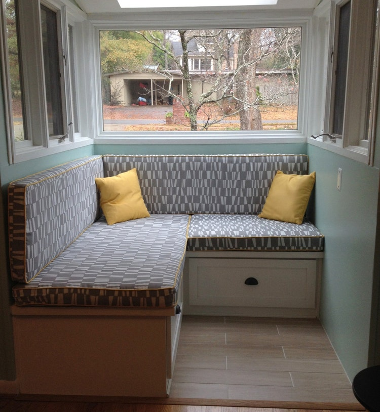 Kitchen Bench With Cushion: Custom Cushion Sewn Banquette Seat Bench By HearthandHomeStore