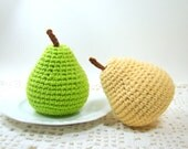 Crochet Pear Amigurumi Pretend Play Toy Food, Stuffed Plush Food for Children Kids Toddlers Gift, Fruit Kitchen Decor, Choice of Color