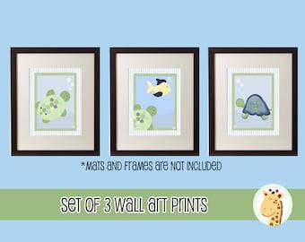 Turtle Reef Set of 3 Nursery Room Art Prints, Tortoise, Turtle and Fish
