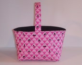 Pink and Black Barbie Easter Basket - Retro Barbie Decor - Fabric Basket