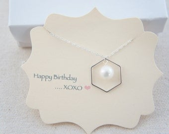 sterling silver hexagon necklace with pearl, honeycomb, wedding, bridesmaid, mother of bride, gift, layered necklace