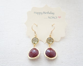 smokey green and blood red gold earrings - modern, bridal, wedding, gift