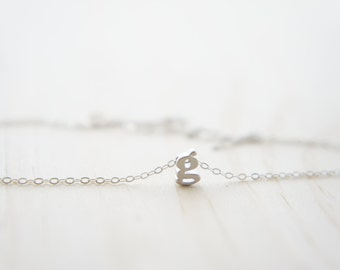 "Silver Letter, Alphabet, Initial  ""g"" necklace, birthday gift, lucky charm, layered necklace"