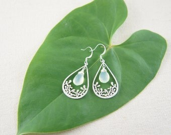teardrop leaf and seafoam green chalcedony silver earrings, wedding, bridesmaid, gift