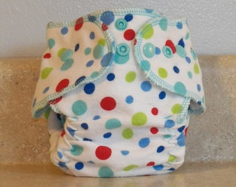 Fitted Preemie Newborn Cloth Diaper- 4 to 9 pounds- Dots on white