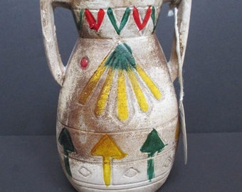 Vintage ENCO pottery Vase, Native American Symbols Vase, Rustic Decor, Southwestern Decor