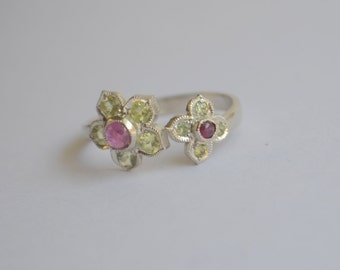 Victorian Inspired Two Flower Open Ring in Argentium Silver with Ruby and Chrysoberyl