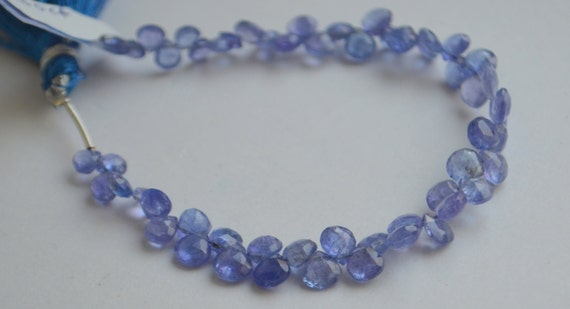 tanzanite faceted heart briolettes half strand 3 inches