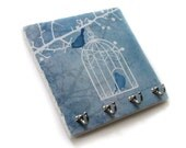 Birds and Cage Wall Key Holder, Birdcage Art Key Rack, Jewelry Organization Key Hooks, Blue Wall Decor (55)
