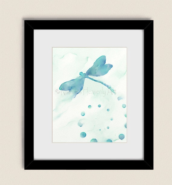 Aqua blue dragonfly wall art 11 x 14 living room print for Living room 11 x 14