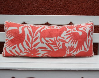 Coral Peach lumbar  Otomi Sham backed and piped with handwoven artisan rustic eco textiles