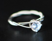 Guitar String Engagement or Purity Ring, Triple Wrapped, 6mm  Clear Cubic Zirconium with Sterling Silver Setting