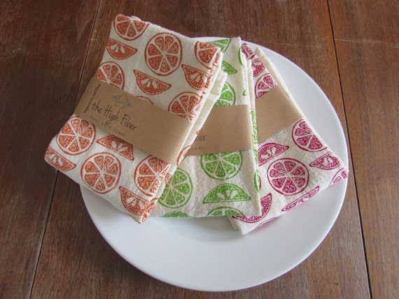 Flour Sack Towel, Hand Printed, Cotton, Citrus, Set of 3