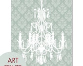French Villa Chandelier - Art Print (Ornate Damask Wallpaper in Silver Sage) French Country(Customizable Colors) Buy 3 get one Free