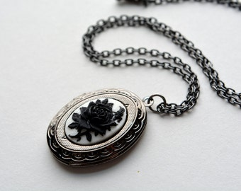 Black Rose Locket Dark Silver Victorian Necklace Rose Cameo Locket Antiqued Necklace Gunmetal Black White