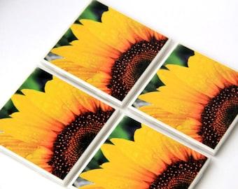 Sunflower Decor, Decorative Tile Coaster Set, Yellow, Floral, Summer, Hostess Gift, Ceramic, 4X4, Set of 4