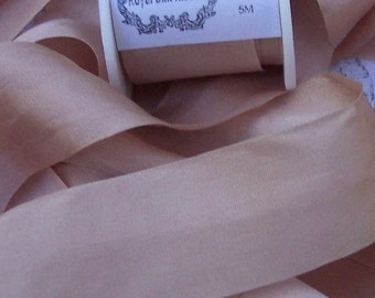 Pure Silk Ribbon Misty/Rose Color 1 inch wide 5 yard Spool