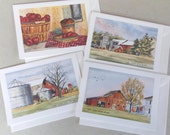 """4 Blank Cards With 4 Different Designs, 5"""" x 7"""" Watercolor & Ink, Notecards"""