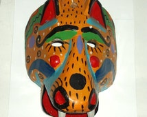 vintage TIGER MASK GUATEMALA wooden hand carved hand painted folk art maybe Mexico orange,green,mustard yellow, black