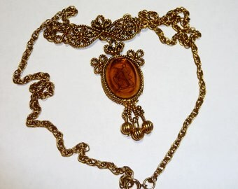 Vintage Reverse Intaglio Cameo by LJM Victorian Style Cupid Necklace on Etsy