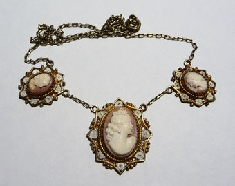 Vintage 900 Gold Plated Silver Triple Cameo Necklace on Etsy