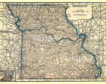 Missouri state map.  Printable digital download of vintage state map of the 1920s, in pastel pinks and blues.