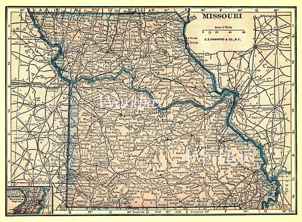 Missouri state map. Printable digital download of vintage
