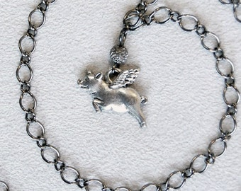 Pig with Wings Gunmetal Chain Necklace, Flying Pig Charm Necklace, 18 inch Delicate Chain Pigasus Necklace