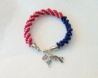 Hand Beaded Patriotic Red, White and Blue Charm Bracelet - Liberty Wear