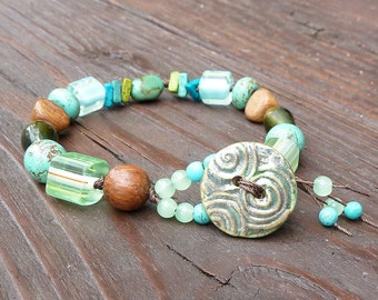 Turquoise Mixed Media Bracelet - Howlite Beads, Turquoise Beads, Wood Beads, Ceramic Button