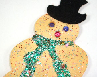 Vintage Glittered Snowman Applique, Package Decoration, Scrapbook Embellishment, Card Making Supply, Black Top Hat, Hand Made (747-13)