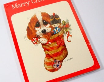 Christmas Postcards, Big Eye Dog in Stocking, Puppy   (159-14)