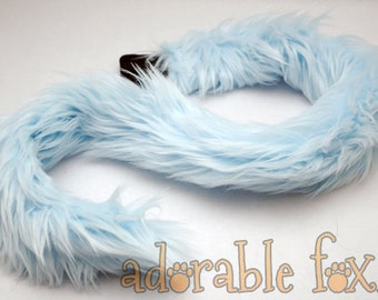 Faux Fur Cat Tail - Baby Blue - Cosplay / Furry / Costume