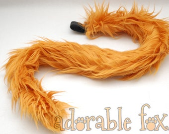Faux Fur Cat Tail - Pumpkin Orange - Cosplay / Furry / Costume