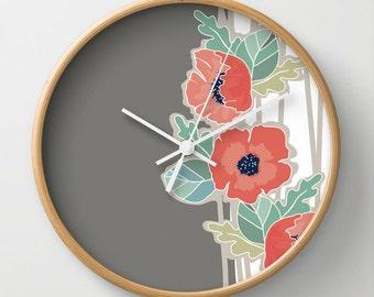 Poppies Wall Clock 10 inch Diameter