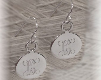 Monogrammed Silver Earrings, Personalized Earrings, Initial Earrings, Name Earrings, Sterling Silver Earrings, Bridesmaids Jewelry, Round