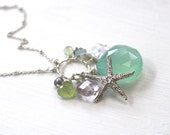 Long Mint Necklace, Starfish Necklace, Long Layered Necklace, Chalcedony Necklace, Mint Necklace, Cluster Necklace, Layering Necklace, Beach