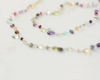 Long Gemstone Necklace, Multi Gem Necklace, Multi Color Necklace, Multi Gemstone Necklace, Semi Precious Stone Necklace, Gem Bead Necklace