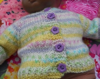 American Girl Bitty Baby Doll  16in Spring Colors Sweater with colorful purple flower buttons