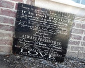 Barnwood sign 1 Corinthians 13, love is patient, love is kind, these three remain, faith, hope and love, great Christmas gift