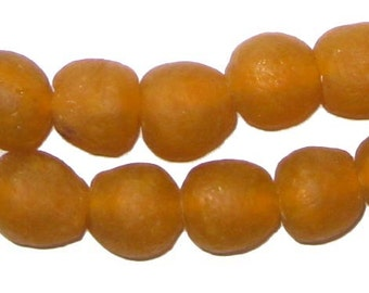 45 Tangerine Recycled Glass Beads 14mm - African Glass Beads - Jewelry Making Supplies - Made in Ghana ** (RCY-RND-ORG-611)