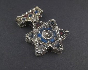 Authentic Jewish Berber Enamel Pendant 47x32mm - African  Pendant - Jewelry Making Supplies - Made in Morocco ** (PND-BRB-114B)