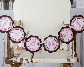 Pink Cowgirl First Birthday Party Decoration, I AM 1 MINI BANNER Western Theme in Pink and Brown
