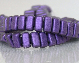 Brick Suede Purple CzechMates Two Hole 50 Czech Glass Beads Matte Metallic Purple