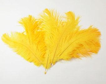 "Petite Ostrich Drab Feathers - Mango, 4-8"" (12pcs)"