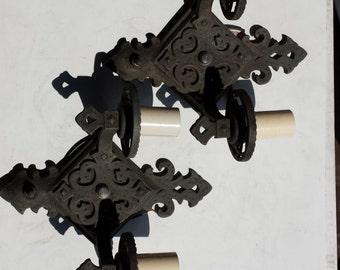 Pair of Gothic Two Arm Sconces, Black, Gray Gothic Sconces