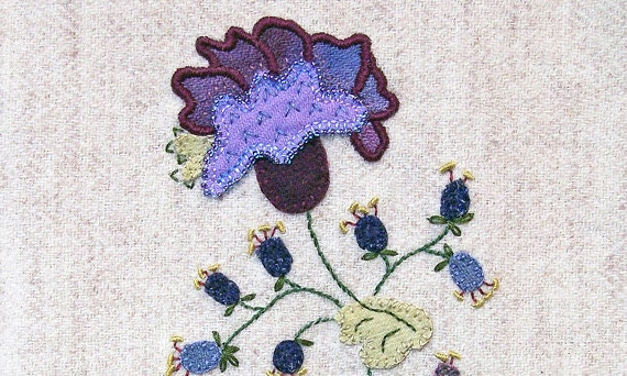 Jacobean Flower Wool Applique, Hand Embroidery / Pattern / Jac 016
