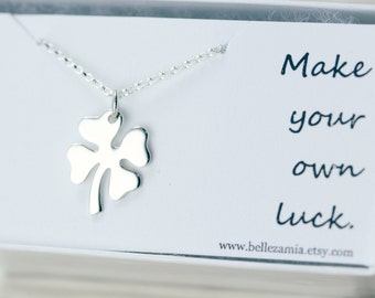 Four Leaf Clover Necklace - Sterling Silver Lucky Clover - Good Luck Jewelry - Shamrock Necklace - Make Your Own Luck Necklace