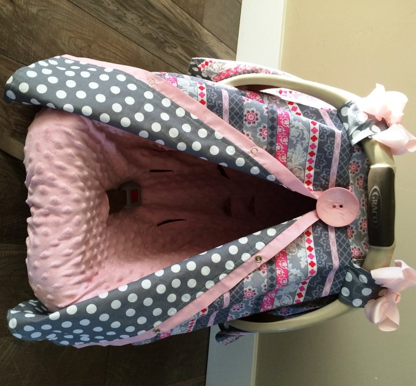 Car Seat Canopy Pink And Grey Car Seat Cover Car Seat